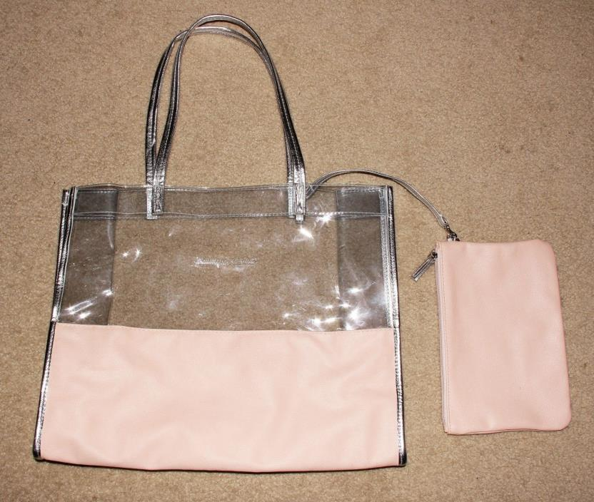 Tommay Bahama Clear Plastic Faux Pink Leather Tote Bag