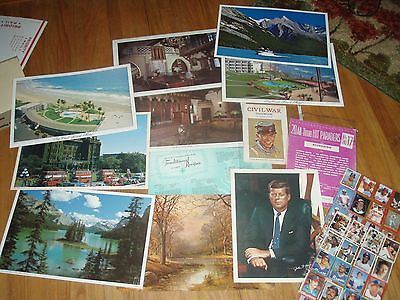 Vintage placemats,music sheet, civil war book,baseball stickers,etc LOT SEE PICT