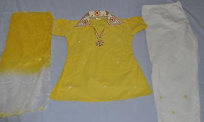 Girl's Designer Stitched Salwar Kameez Cotton Dress Sari Kurti Yellow & WHite S