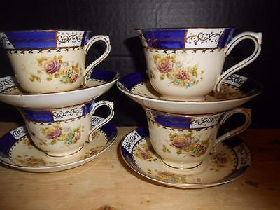 4 Royal Stafford England Cups Saucers Blue Flowers Gold EUC