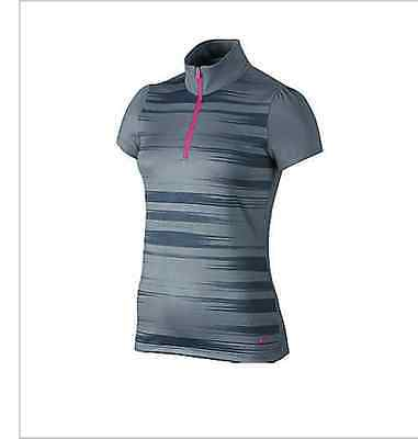 Nike Women's Swing Stripe Mock Polo Shirt - Size XS Grey/Pink 640341 088