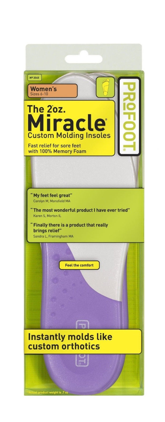 Profoot Care Miracle Custom Molding Insoles Women's 6-10 - 1 Pair - 2 Oz