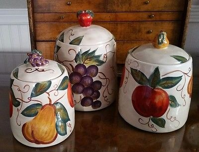 Pottery CANISTER SET- Ceramica Classica VENETIAN Apple, Pear, Grapes KITCHEN