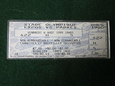 MONTREAL/SAN DIEGO   BASEBALL TICKET-1999-IN PLASTIC HOLDER