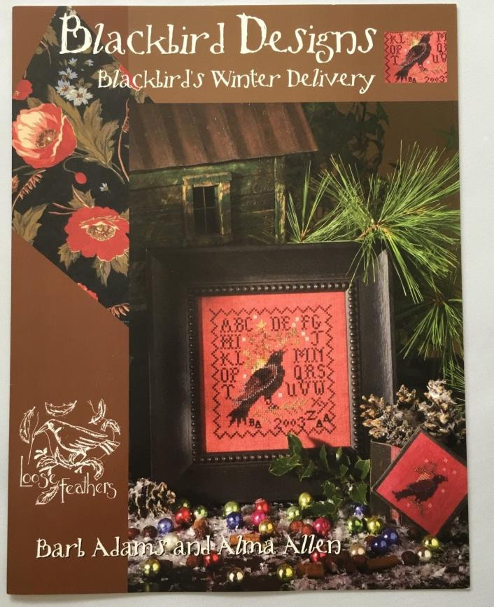 Blackbird Designs Blackbirds Winter Delivery Cross Stitch Pattern Loose Feathers