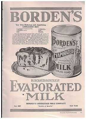Cinnamon Bun Recipe in 1916 Borden's Evaporated Unsweetened Sterilized Milk Ad