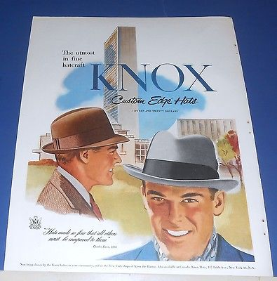 1954 KNOX Custom Edge Hats Ad ~ gray & brown