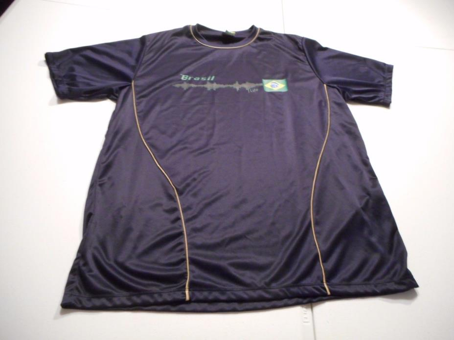 Brasil Mens Large Football Soccer Jersey Shirt by Braziline Short Sleeve Navy