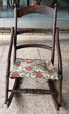 Antique Victorian Early American Folding/Rocking/Sewing Chair w/Tapestry Seat