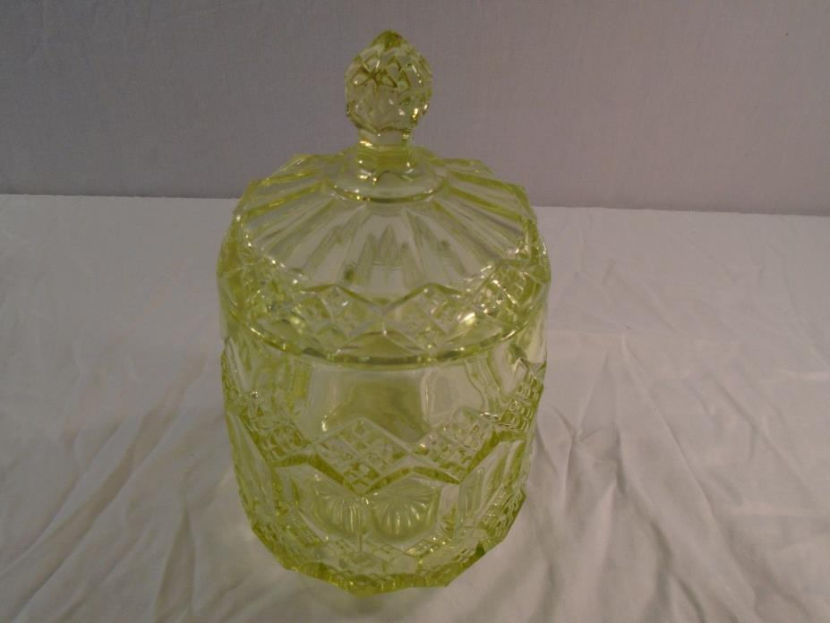 Vintage Vaseline Beautiful Glass Biscuit Jar with Lid