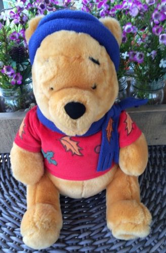 Disney Store Winnie the Pooh plush with hat, scarf, shirt with leaves 12