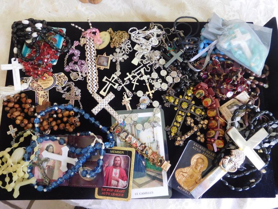 Vintage REPAIR CRAFT repurpose Cross Rosary Bead Necklace Pendant Lot