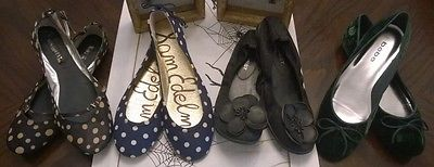 Lot of 4 Pairs of Shoes, FLATS, Sam Edelman/ Nine West/ Bebe, Size 6.5