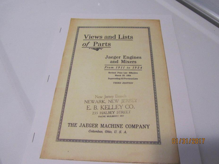 Jaeger Gas Engine Herc/Economy Color Catalog 1911-1924 Manual engine parts, mags