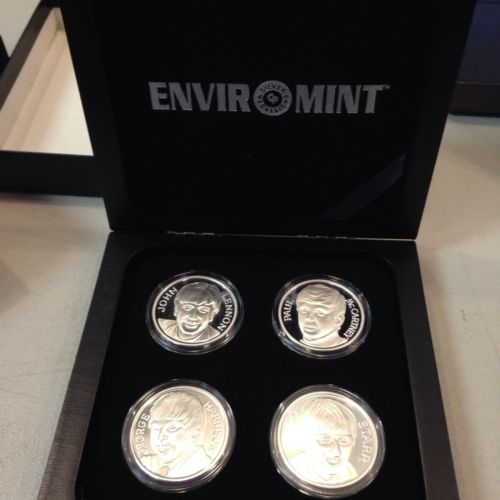THE BEATLES SET 1994 1 OZ FINE SILVER COIN SET COLLECTION OF 4 enviromint