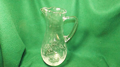 Glass Pitcher With Etched Floral Design