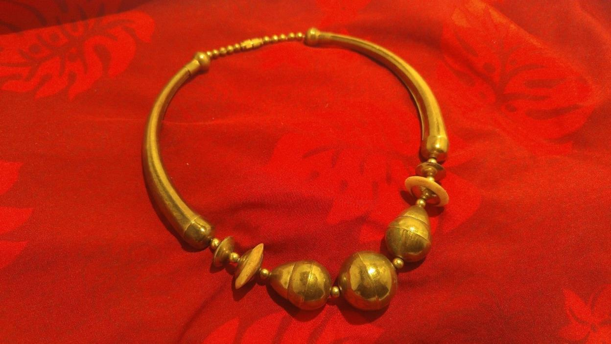 Brass Bead NECKLACE Large Brass Beads Handmade V299?