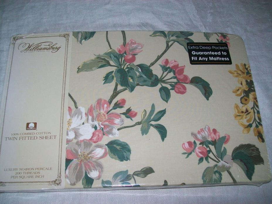 WILLIAMSBURG FITTED SHEET TWIN PERCALE COTTON FLOWERS NIP