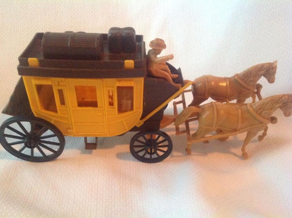 Vintage Western Horse Drawn Wagon Plastic Rare Cowboy