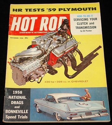 NOVEMBER 1958 HOT ROD MAGAZINE PLYMOUTH FURY, NATIONAL DRAGS, BONNEVILLE