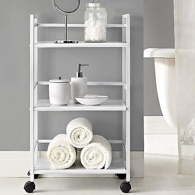 Altra Furniture Marshall Three Shelf Rolling Utility Cart White