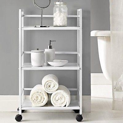 Altra Furniture Marshall Three Shelf Rolling Utility Cart White
