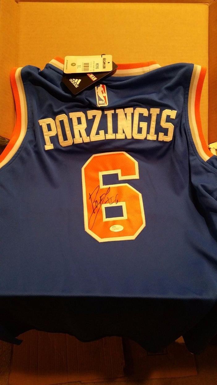 Kristaps Porzingis Autographed Authentic NY Knicks Jersey w/ JSA COA