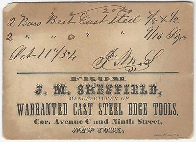 1854 New York Tool Manufacturer J.M. Sheffield Trade Card / Receipt