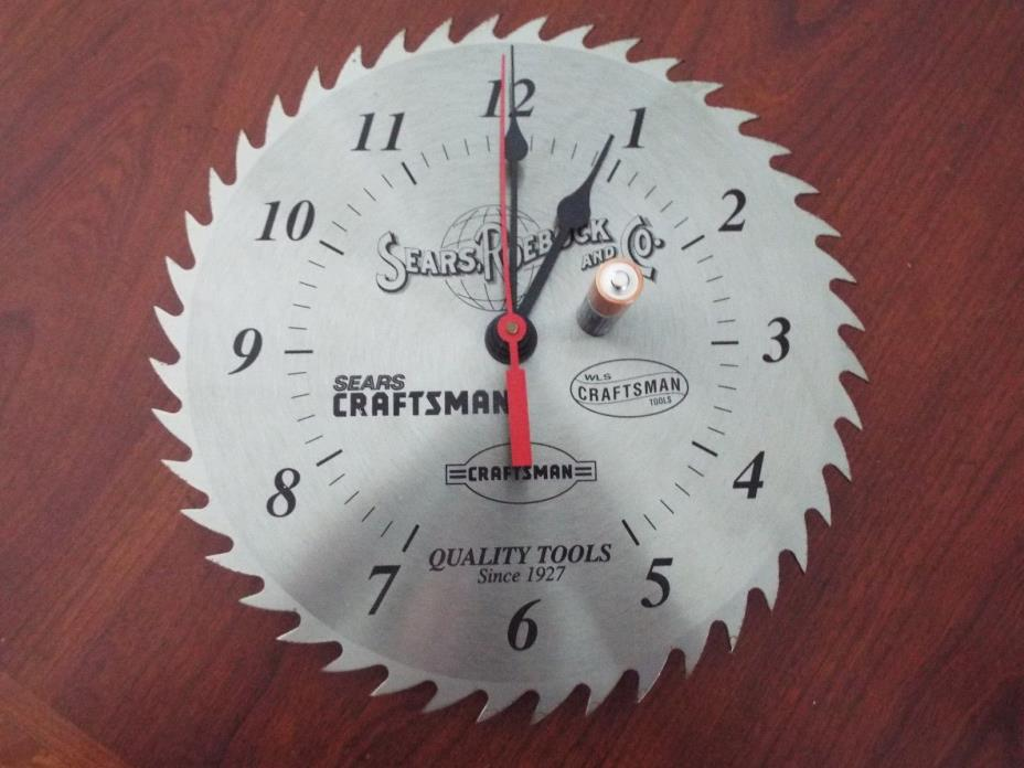 Sears and Roebuck Co. Craftsman Tools 10 in. Circular Saw Blade Workshop Clock