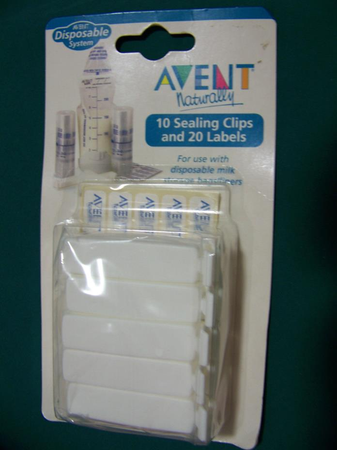 Avent Naturally, 10 Sealing Clips & 20 Labels NEW Bag Clip Set,  FREE SHIPPING!!