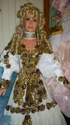RUSTIE FOR RUSTIE UNIQUE DESIGNS & HSN 42 INCH PORCELAIN LADY DOLL SABLE