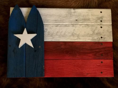 Wooden Texas Flag With Star Old Picket Home Wall Decor State Of Patriotic