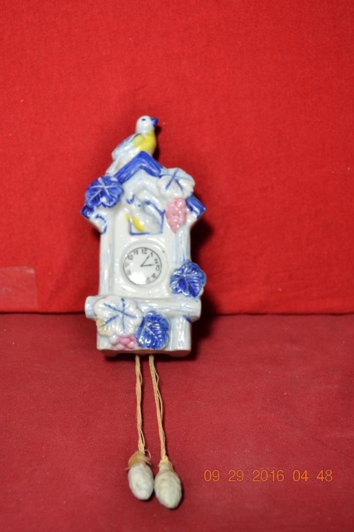 Porcelain Cuckoo Clock Blue Bird Wall Pocket