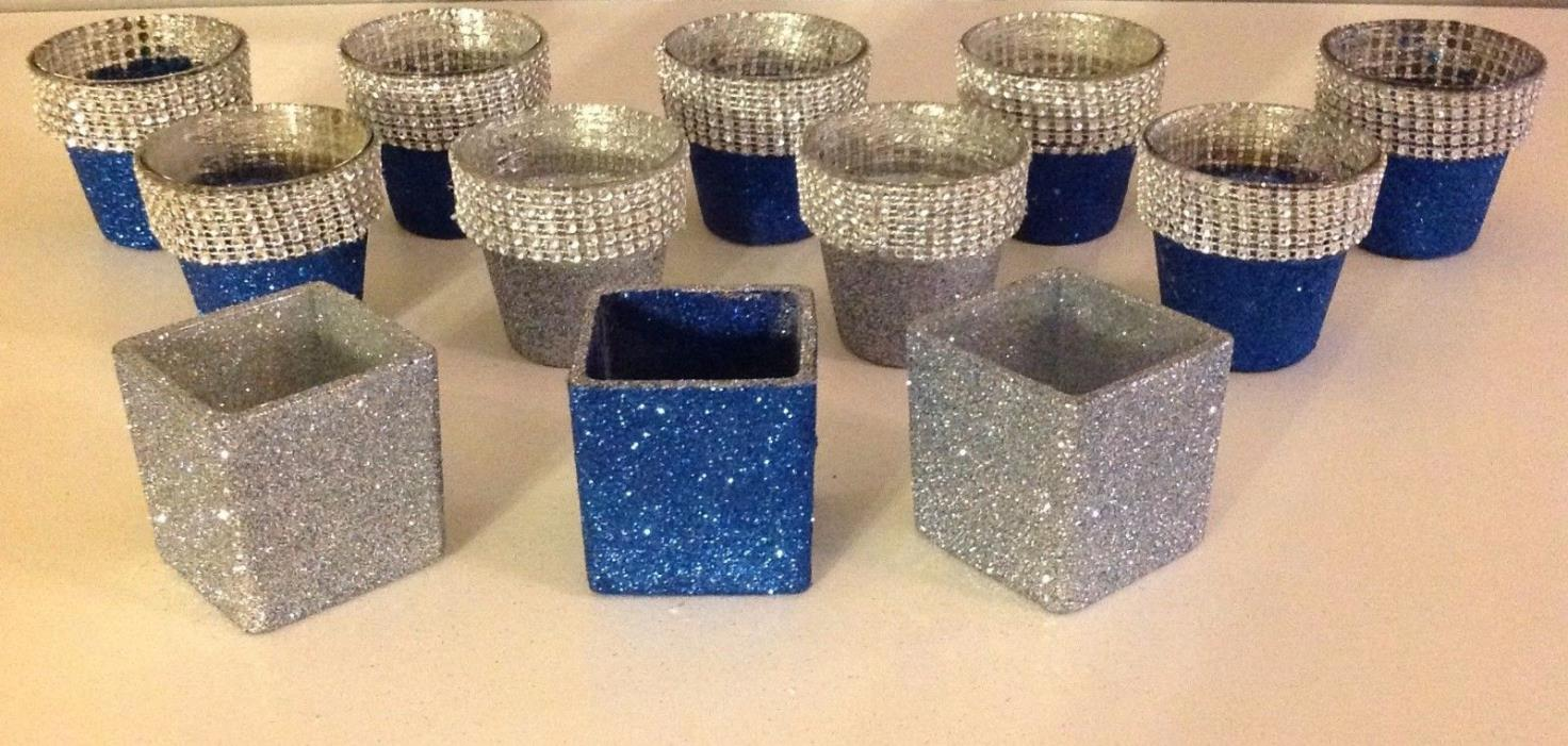 Glitter Votives glass decorated crystals royal blue silver wedding anniversary