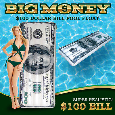 $100 Dollar Bill Pool Float, Free Shipping
