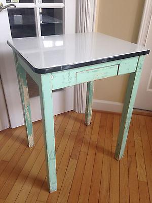 (Antique) Enamel Top Kitchen Utility Table