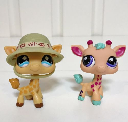 Littlest Pet Shop LPS LOT 2 Giraffes -- RARE!