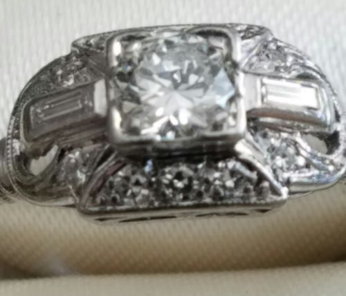 platinum diamond ring center old european cut