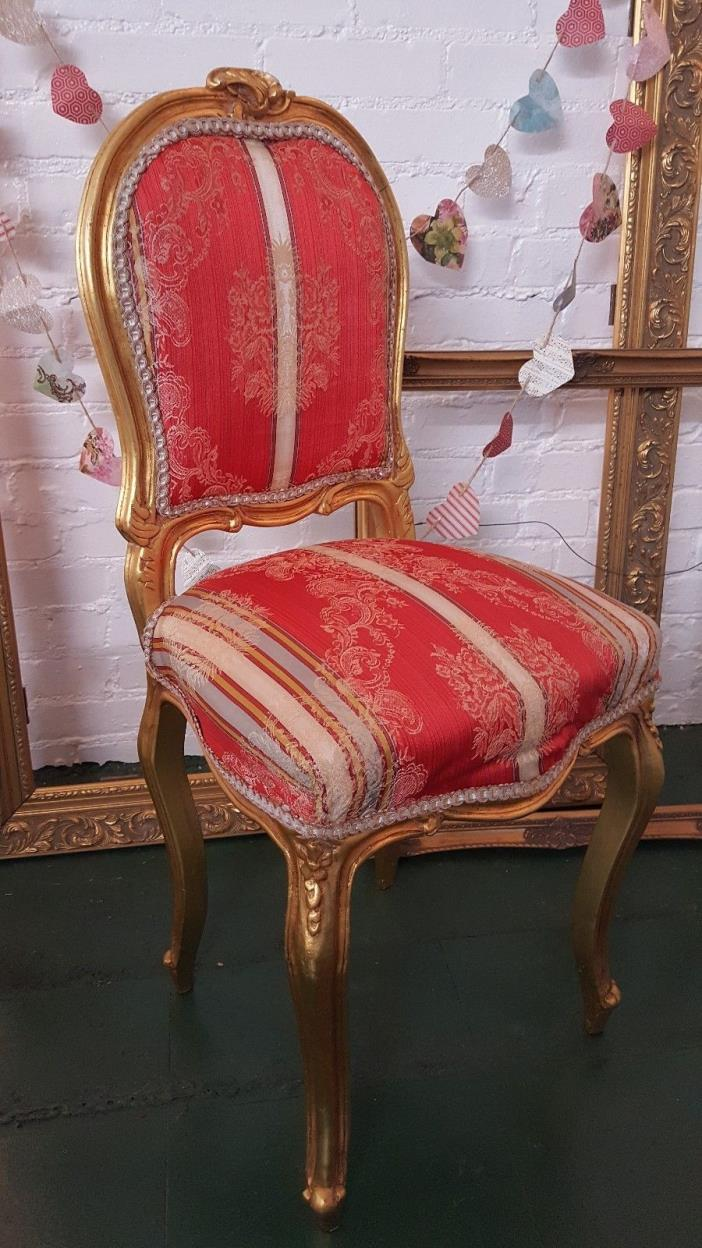 Vintage French Victorian Gold Gilded upholstered occasional Chair Red Rare find