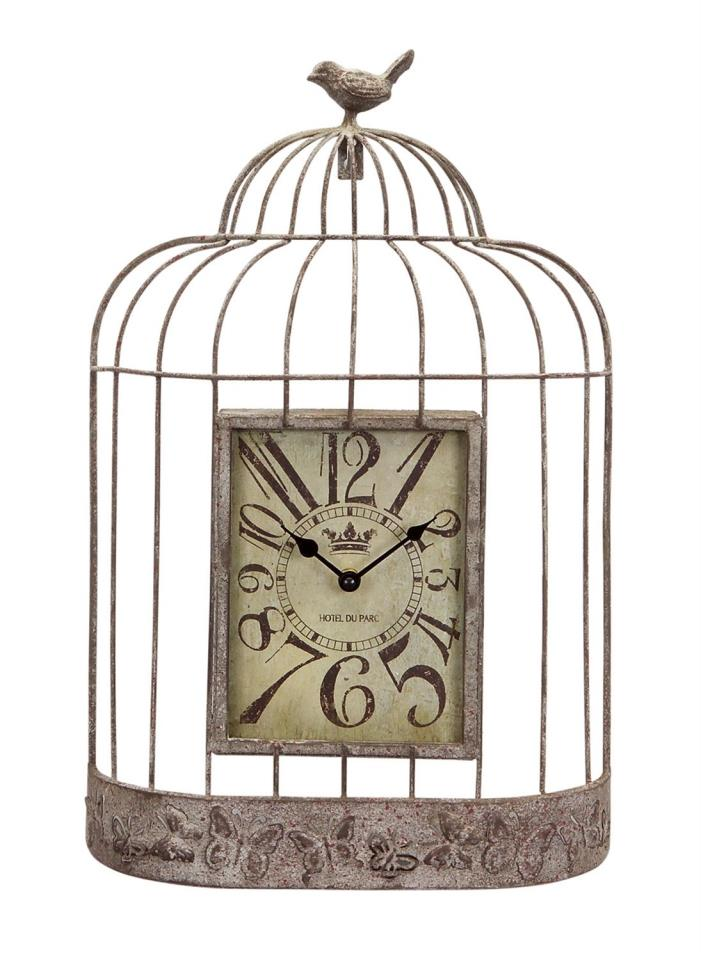 Weathered Look Bird Cage w Bird On Top Wall Clock 20