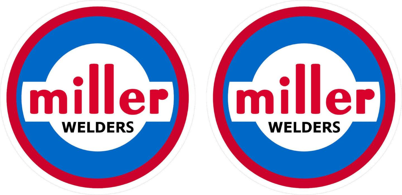 Pair of Vintage Miller Welder Decals 5'' size  60's 70's tig stick mig