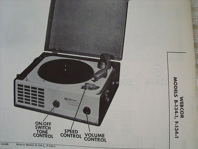 Webcor B-134-1, F-134-1 record player repair manual photofact