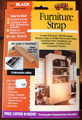 Quake-Hold! Two 18-inch Furniture Straps ~ Black ~ New in Opened Box ~ FREE SHIP