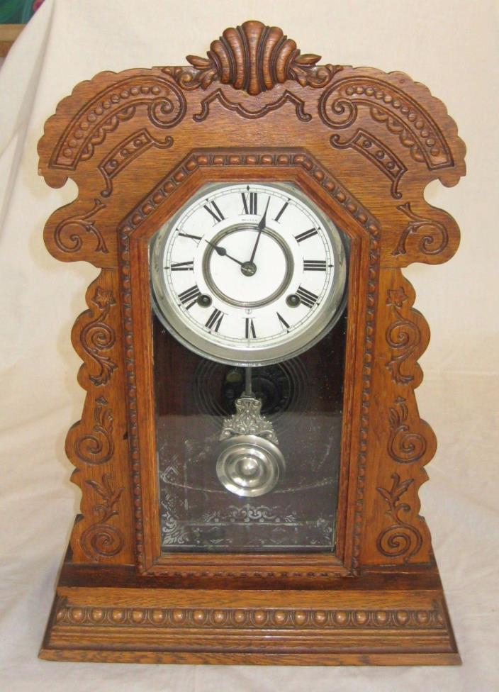 Antique Ansonia Tall Mantle or Shelf Clock 21