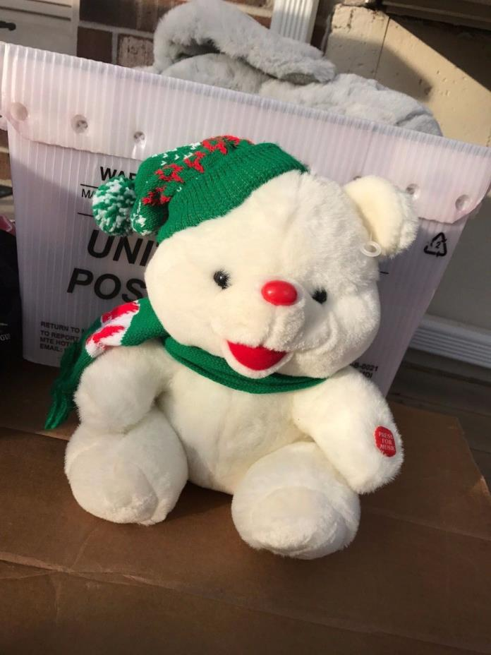 CHRISTMAS TEDDY BEAR White W/ hat and scarf plush