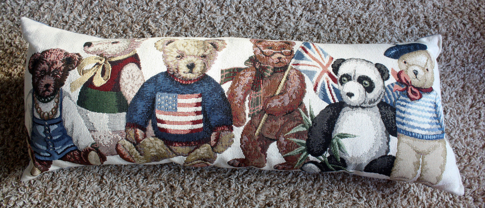 Long BEAR Tapestry Pillow of Various Nationalities Flag Sweater Bed or Couch