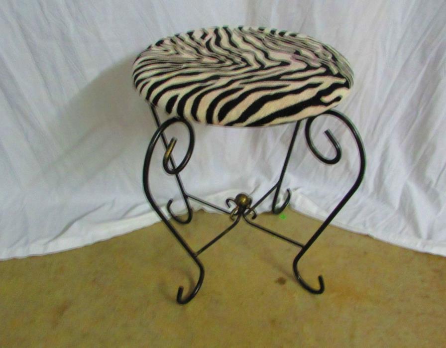 Zebra Striped Stool For Dresser