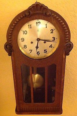 Antique Germany Wall Clock Crossed Arrows Hamburg-American Clock Co.
