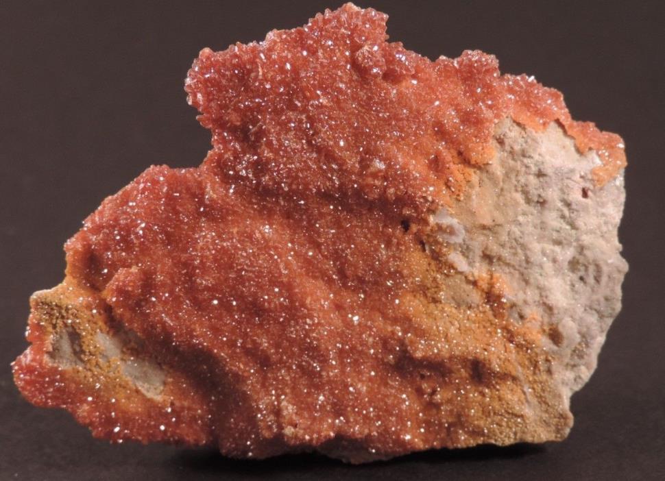 Large Vanadinite Crystal on Baryte Mineral Specimen, Mibladen, Morocco