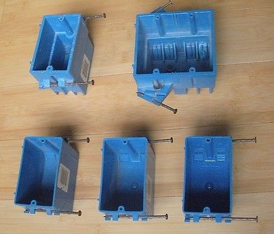 Lot of 5-Thomas & Betts Single Gang & Dual Gang PVC Switch & Outlet Boxes